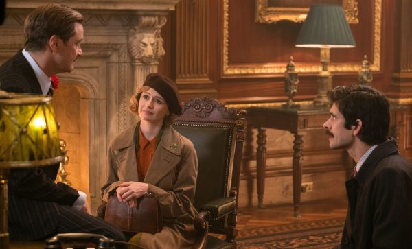 Colin Firth is Wilkins, Emily Mortimer is jane Banks and Ben Whishaw is Michael Banks in Disney's MARY POPPINS RETURNS, a sequel to the 1964 MARY POPPINS, which takes audiences on an entirely new adventure with the practically perfect nanny and the Banks family.