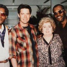 Maria Snoeys-Lagler con Clarence Williams III, Kyle MacLachland y Samuel L. Jackson